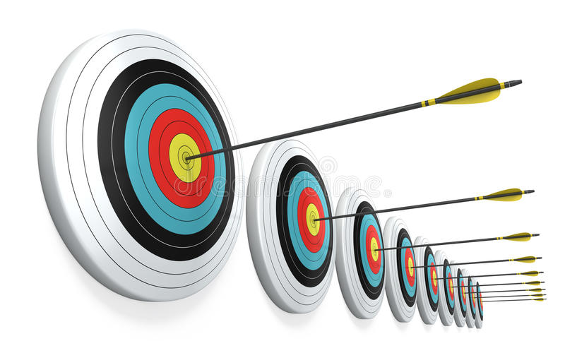 Download Arrows Hitting The Center Of Targets Stock Photo - Image: 27608280