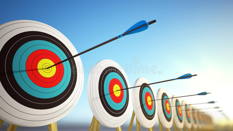 Arrows hitting the centers of targets - success business concept. 3d render stock illustration