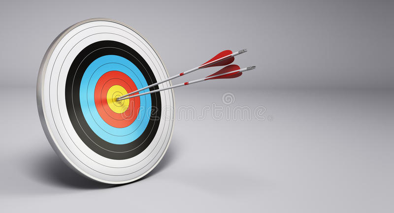 Arrows Hitting Target, Archery stock illustration