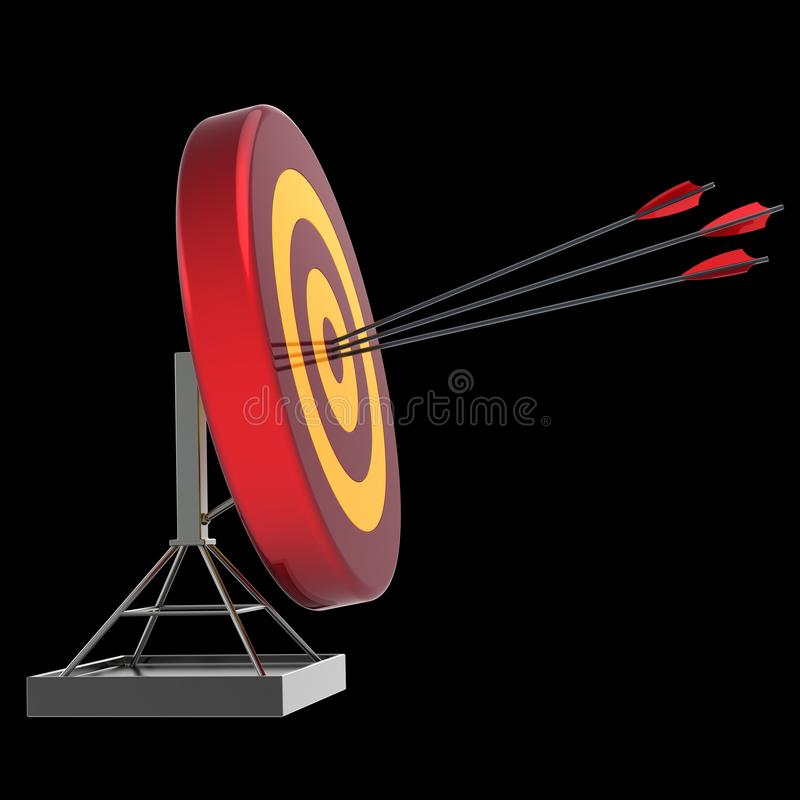 Arrows hitting target bull`s-eye success icon. Archery shooting stock illustration
