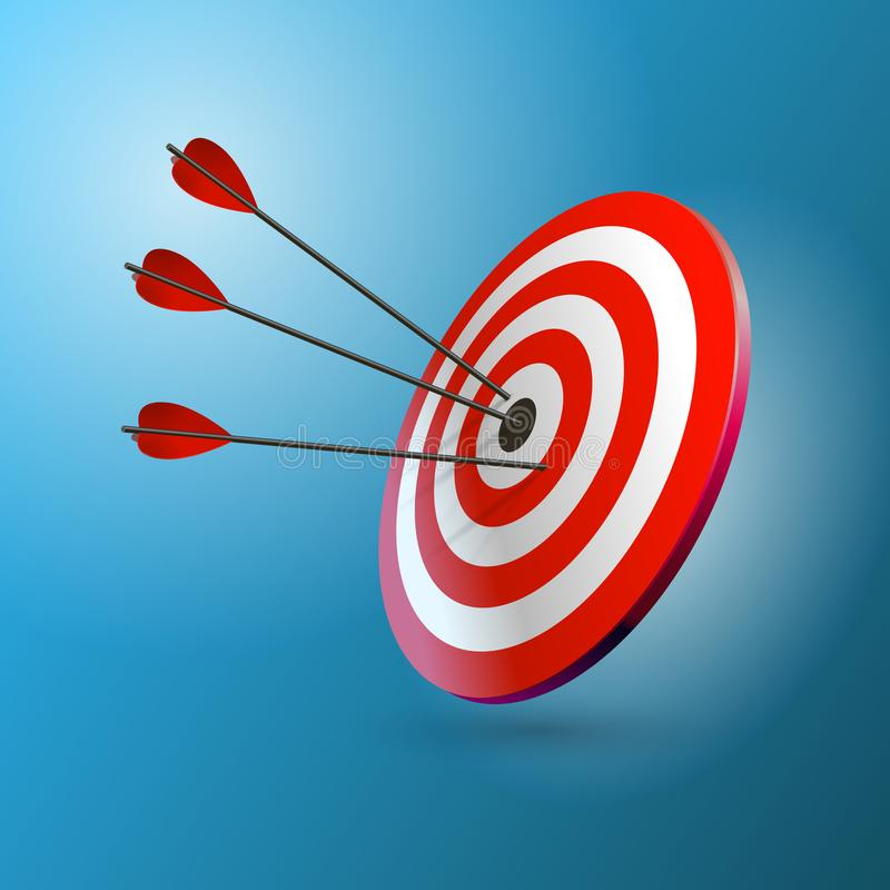 Arrows hitting a target. One target and three arrows. Business goal concept. stock illustration
