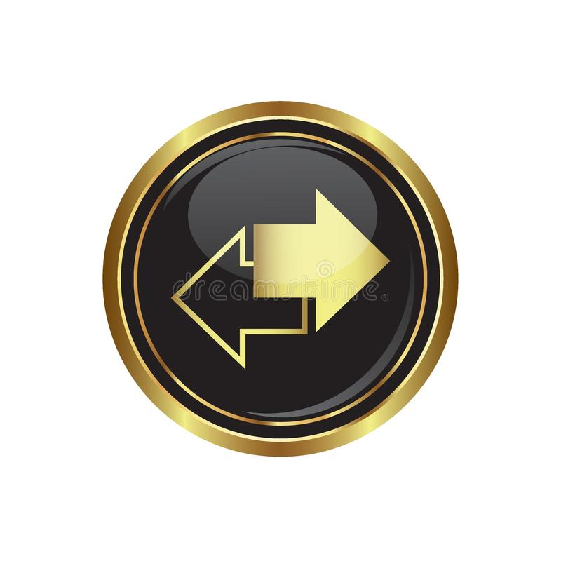 Arrows icon on black with gold button vector illustration