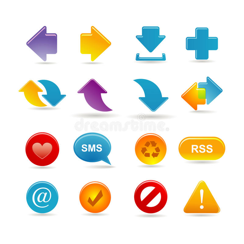 Download Arrows icon set stock vector. Illustration of point, website - 15077082