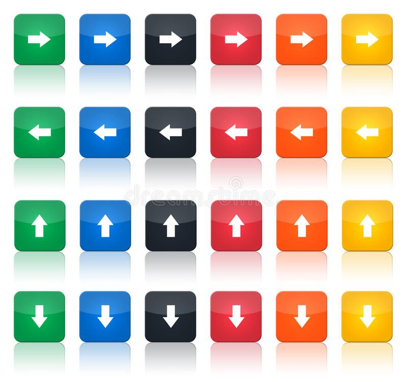 Arrows icon set. Illustration of a set of coloured arrows icons, vertical and horizontal stock illustration