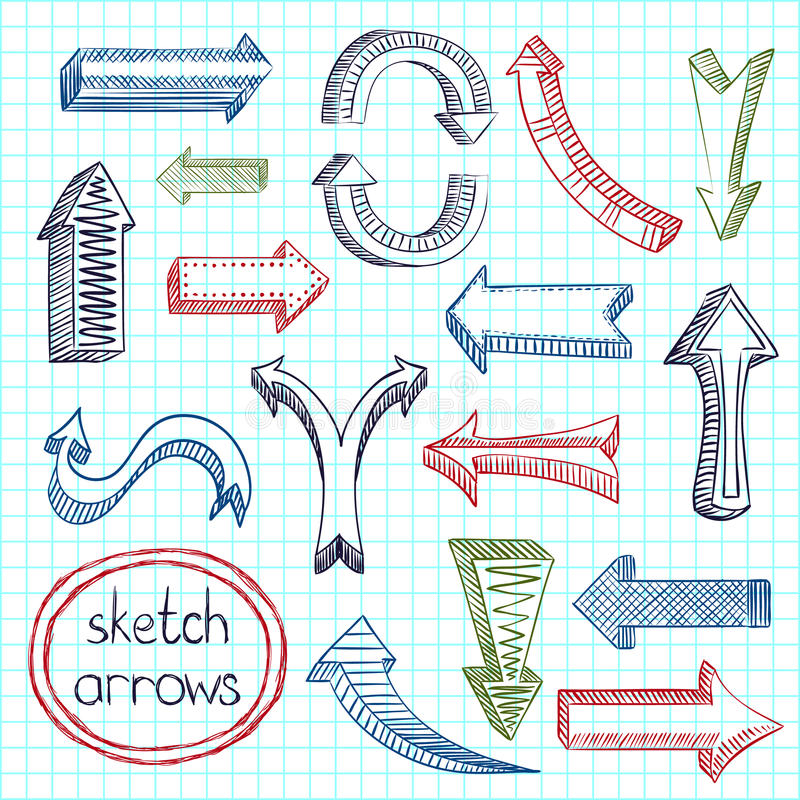 Download Arrows icon set sketch stock vector. Illustration of collection - 39503205