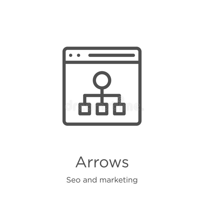 Arrows icon vector from seo and marketing collection. Thin line arrows outline icon vector illustration. Outline, thin line arrows. Arrows icon. Element of seo vector illustration