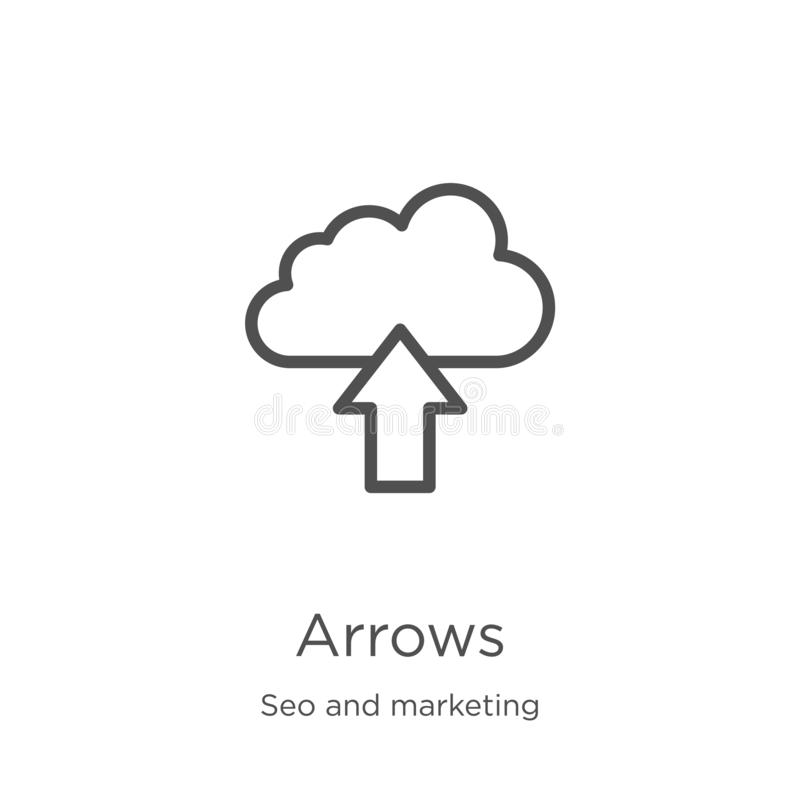 Arrows icon vector from seo and marketing collection. Thin line arrows outline icon vector illustration. Outline, thin line arrows. Arrows icon. Element of seo royalty free illustration