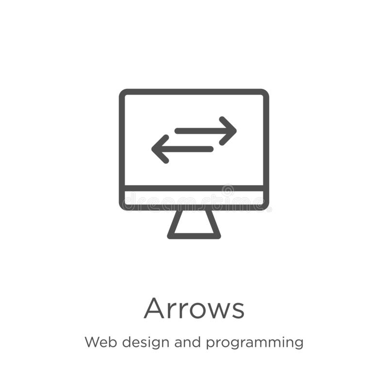 Arrows icon vector from web design and programming collection. Thin line arrows outline icon vector illustration. Outline, thin. Arrows icon. Element of web vector illustration