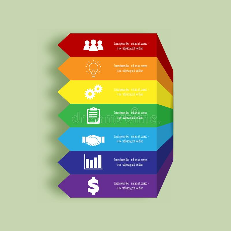 Arrows infographic. Colors of rainbow. Business stairs concept with 7 options, parts, steps or processes. royalty free illustration