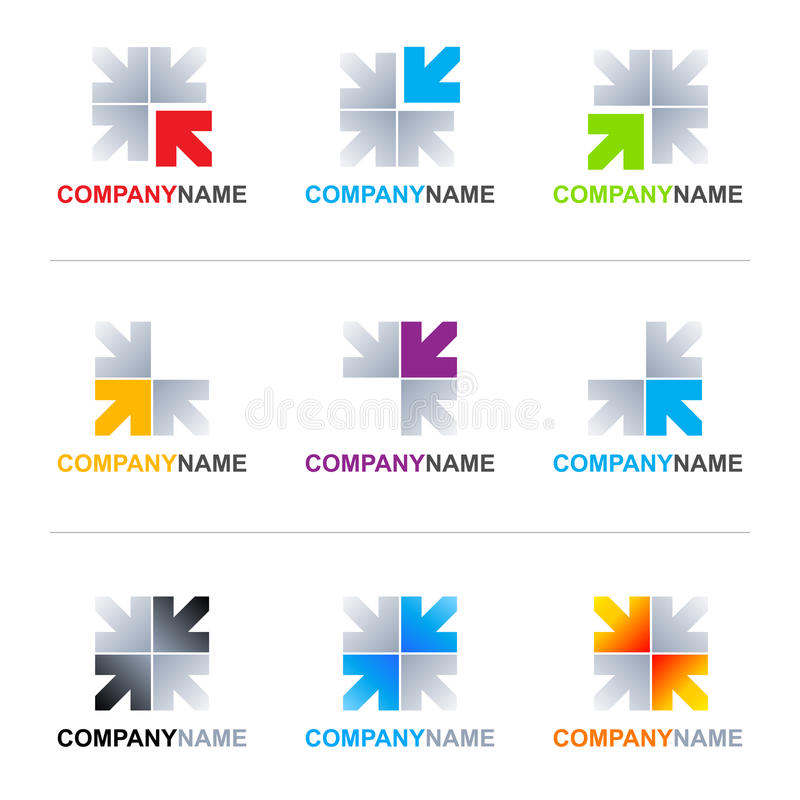 Arrows logo designs. Collection of 9 vector isolated arrow elements with editable lettering Company Name (Arial font) in various designs and colors on white