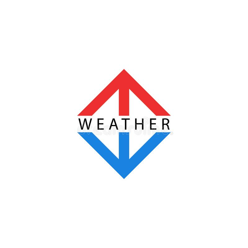 Arrows logo, pointing up and down, symbols of growth and fall indicators, red arrow hot, blue symbol cold temperature. Weather royalty free illustration