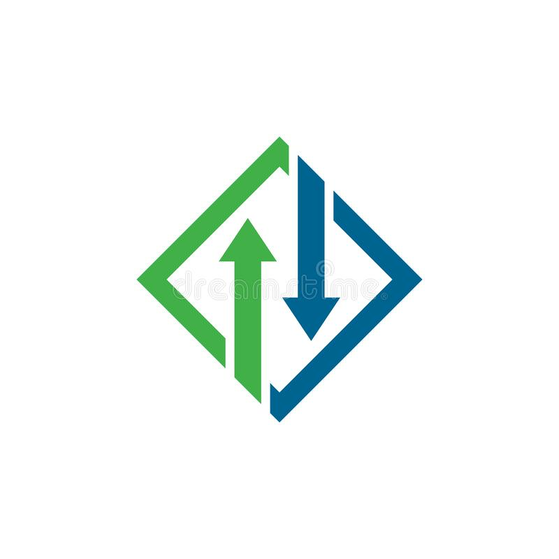 Arrows logo template vector icon illustration. Design, plus, faster, accurate, achieved, advertising, best, business, center, chance, choice, competitive royalty free illustration