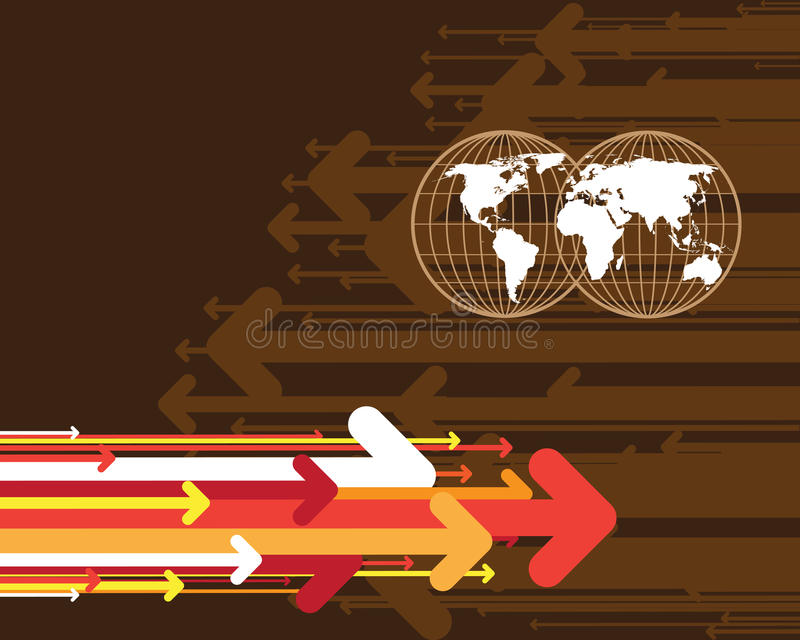 Arrows and map of the world royalty free illustration
