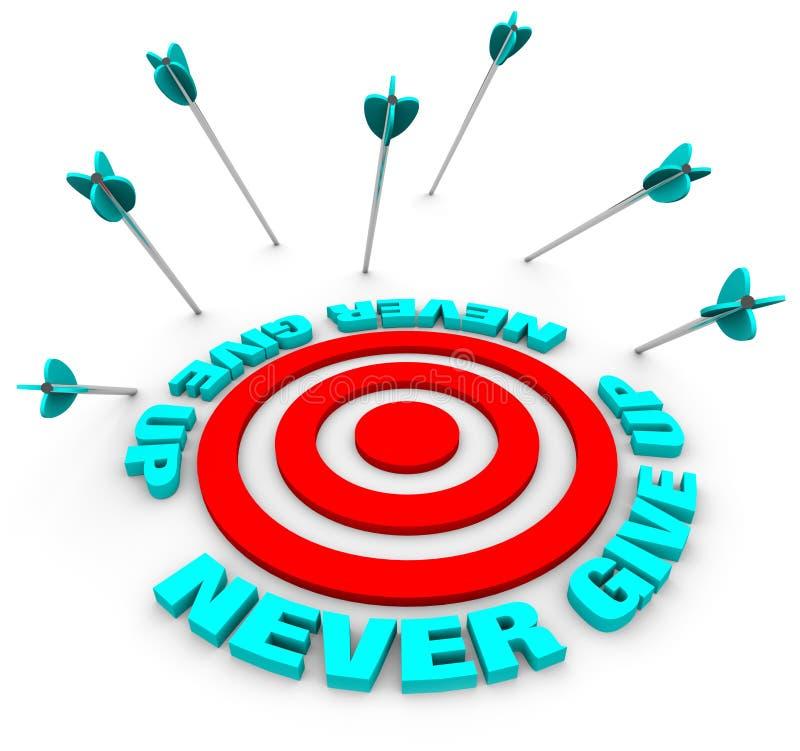 Arrows Miss Bulls-Eye - Never Give Up stock illustration