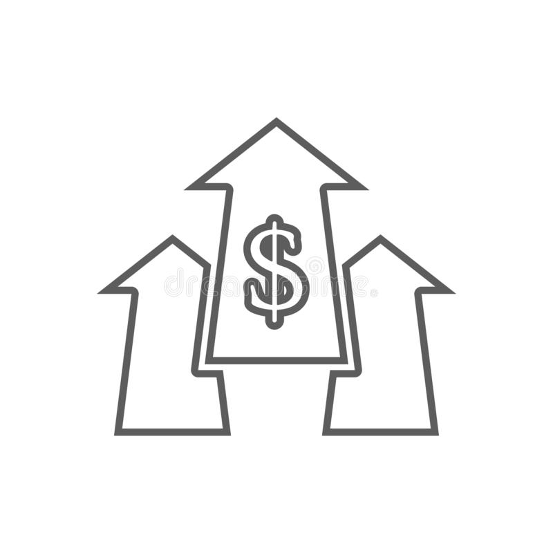 Arrows with money sign icon. Element of Finance for mobile concept and web apps icon. Outline, thin line icon for website design. And development, app stock illustration