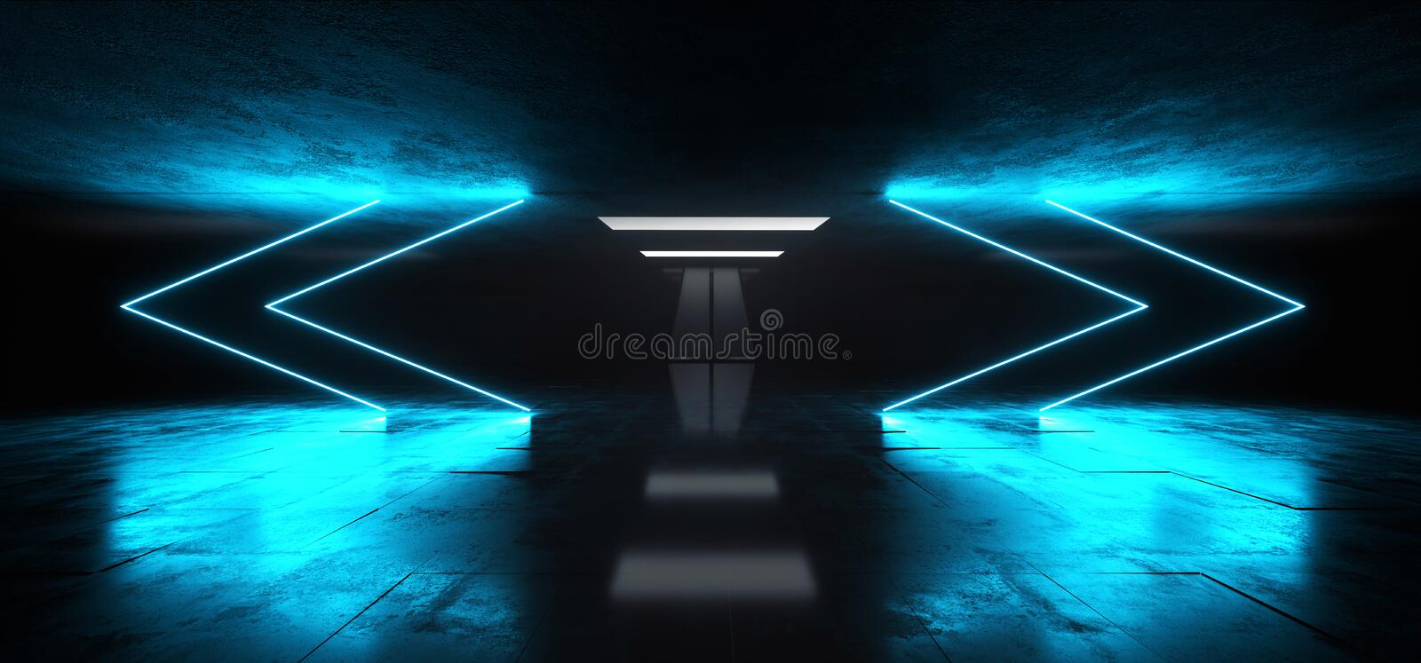 Arrows Neon Studio Construction Triangle Vibrant Sci Fi Tiled Stage Dance Lights Glowing Blue Reflecting On Grunge Concrete Big. White Glowing Lights Dark Hall vector illustration