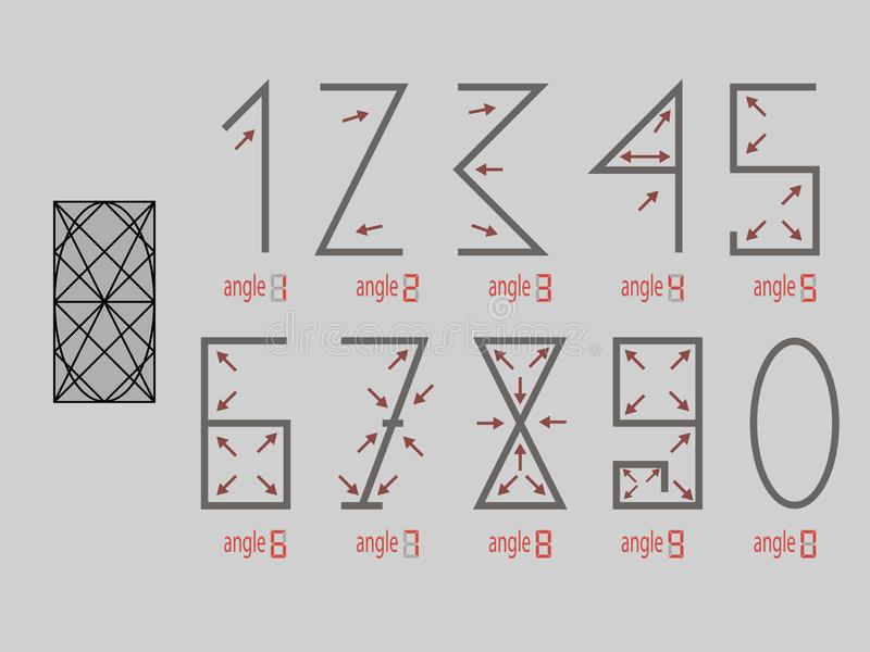 Arrows. The numbers are one two three four five six seven eight nine zero. vector illustration .Numerals stock photos