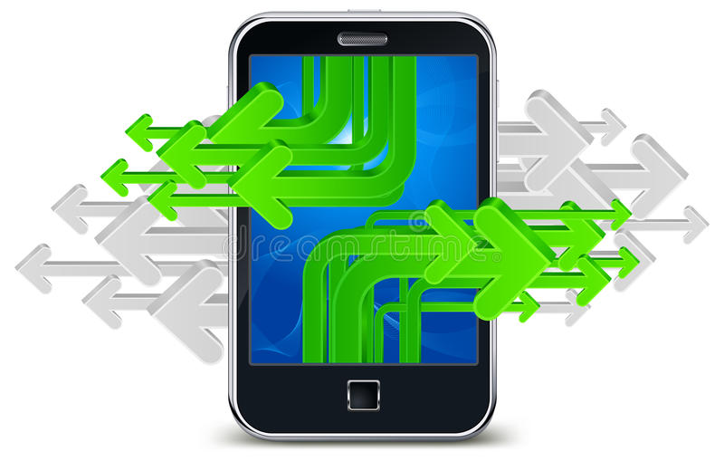 Arrows phone. Touch phone with green arrows, mobile concept, illustration stock illustration
