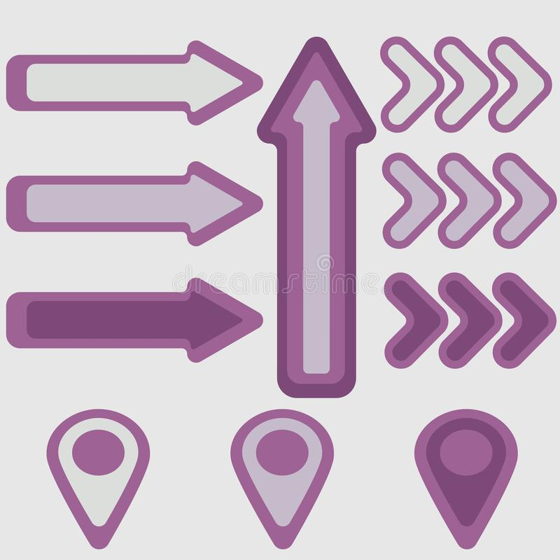 Arrows and pointers in purple hues royalty free illustration