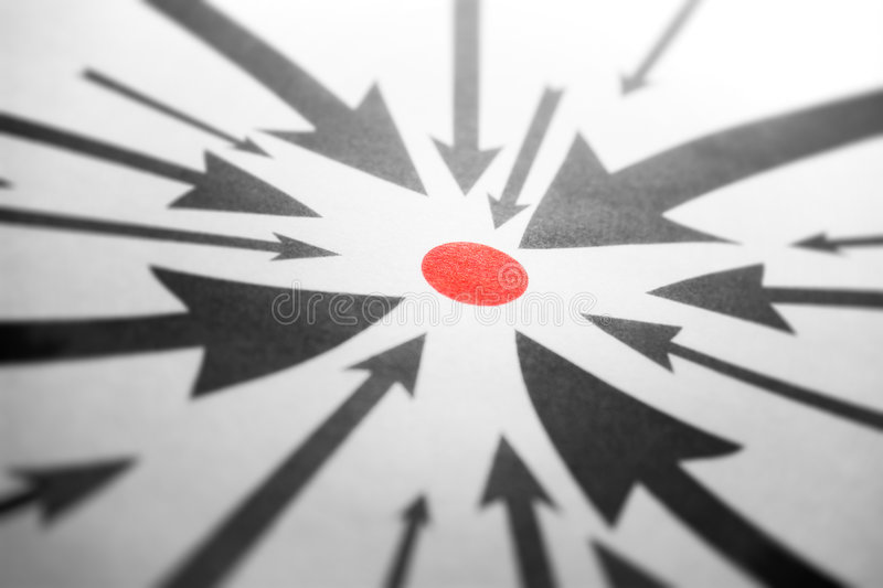 Arrows pointing to one red point royalty free stock photography