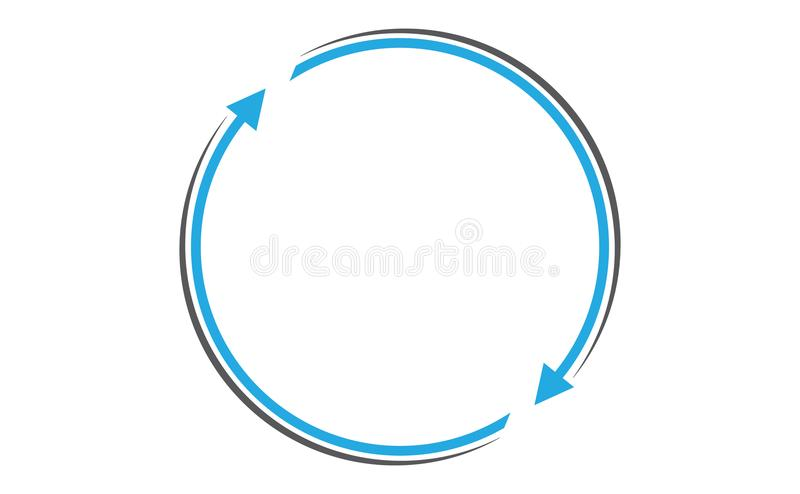 Arrows rotating with circular path. Rotating arrows in clockwise direction with circular gray color path vector illustration