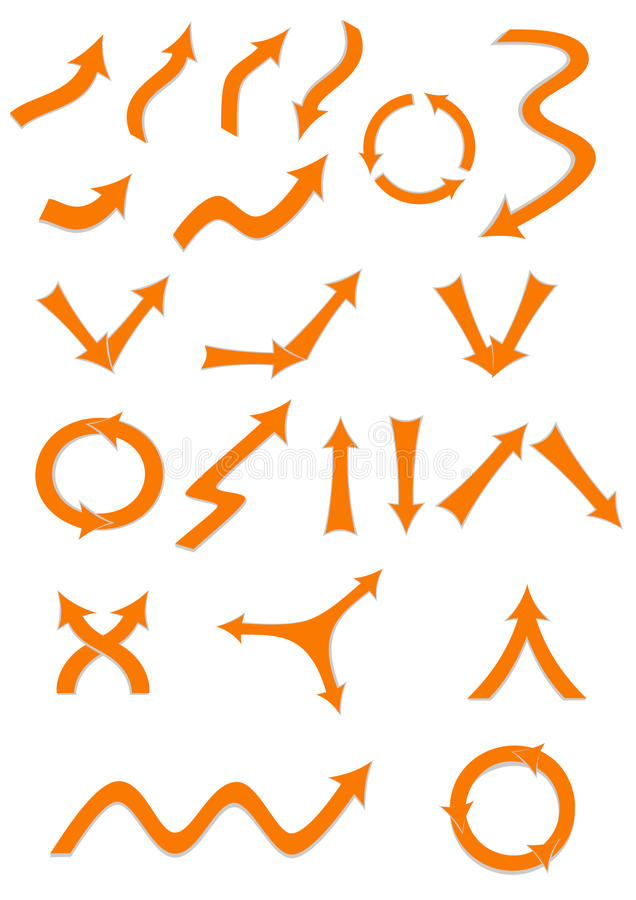 Arrows set. Set of various arrows in orange color. Signs isolated