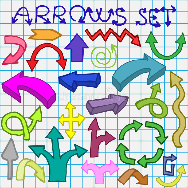 Download Arrows set stock vector. Image of group, line, icon, arrows - 25293546