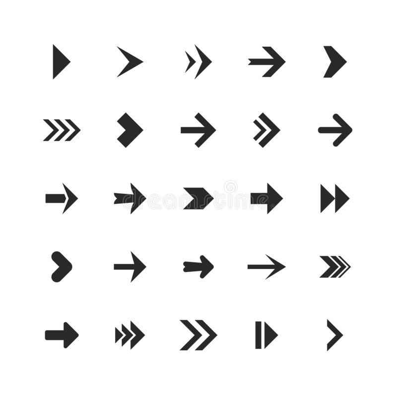 Arrows set. Arrow icons down direction up pointer sign next right left cursor black web interface navigation flat vector illustration