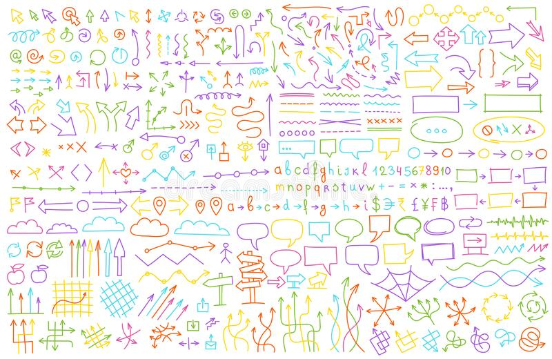 Arrows set. Hand draw multicolored background pattern. Communications presentation collection. Sketch vector line stock photos