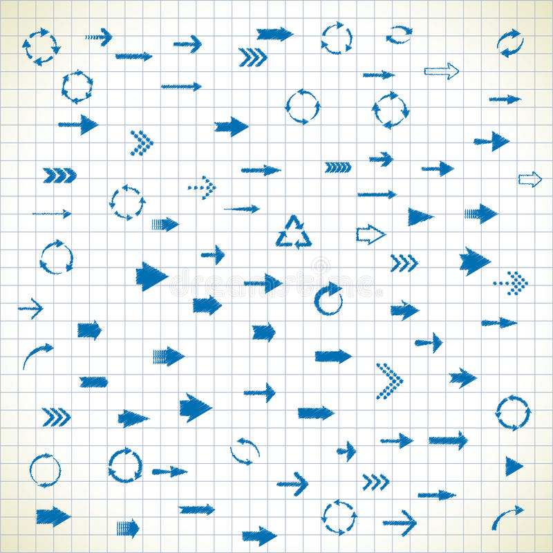 81 arrows. Set of 81 arrows in the style of the sketch. eps8 royalty free illustration