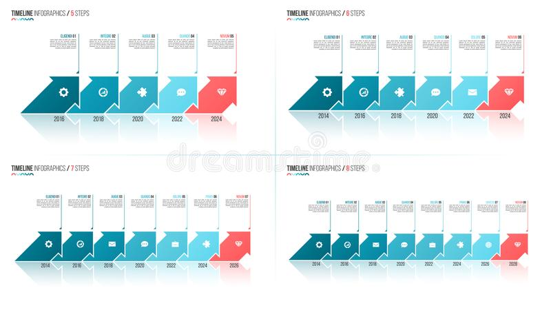 Arrows shaped timeline infographic templates. 5 6 7 8 steps, opt royalty free illustration