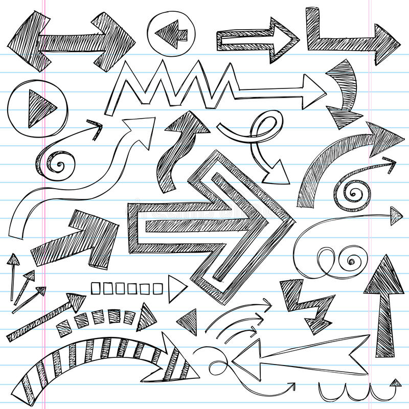 Arrows Sketchy Notebook Doodles Vector Set royalty free illustration