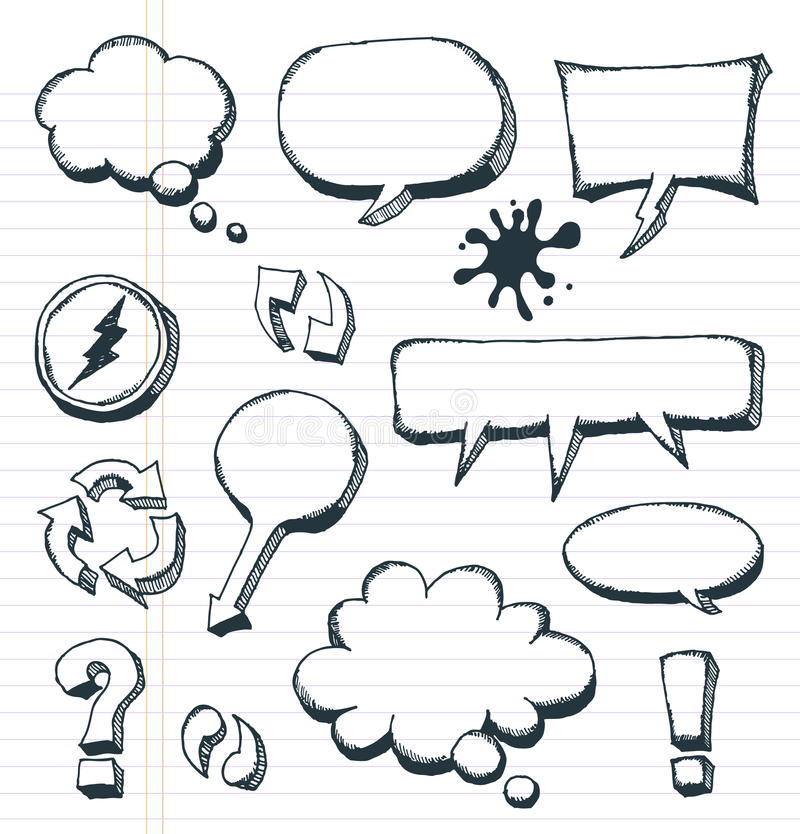 Arrows, Speech Bubbles And Doodle Elements Set. Illustration of a group of outlined hand drawn sketched elements, arrows, signs and speech bubbles, on school vector illustration