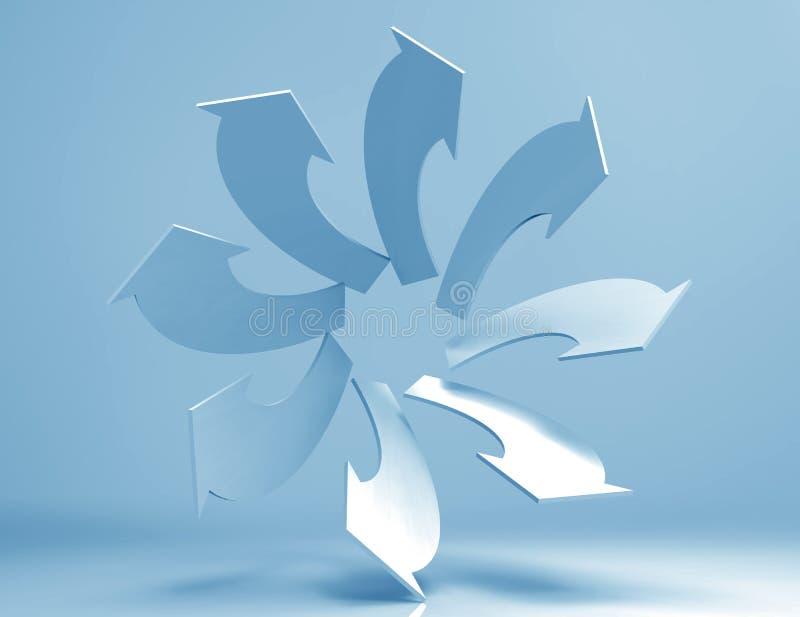 Arrows. Spiral arrows 3d concept design stock illustration