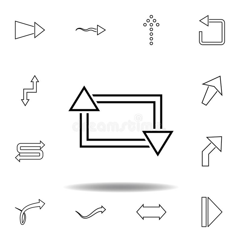 arrows in a square icon. Thin line icons set for website design and development, app development. Premium icon stock illustration
