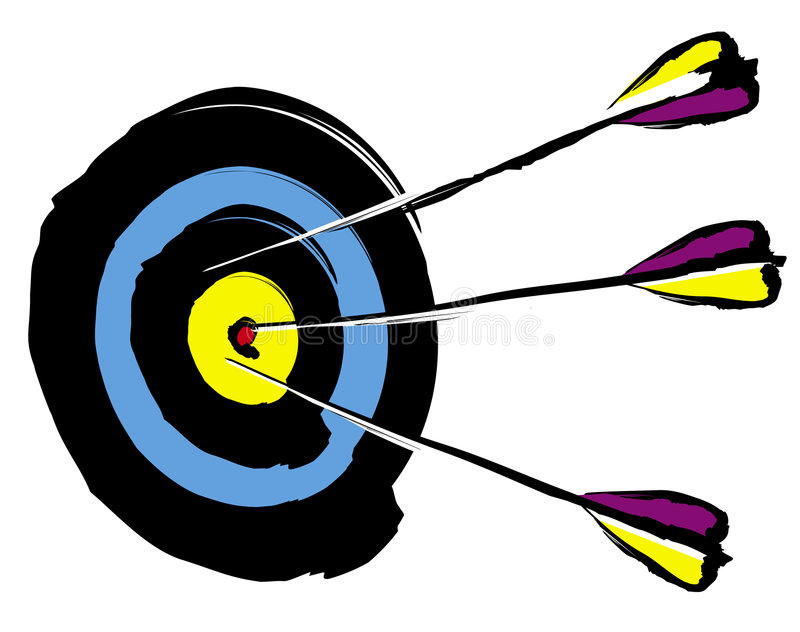 Arrows on target royalty free illustration