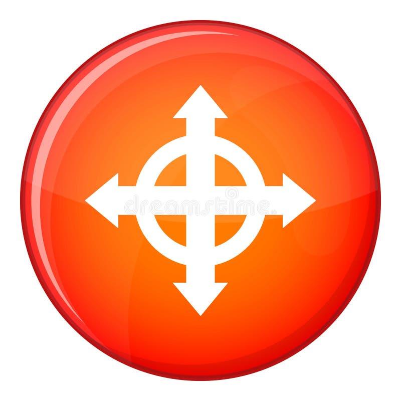 Arrows target icon, flat style stock illustration