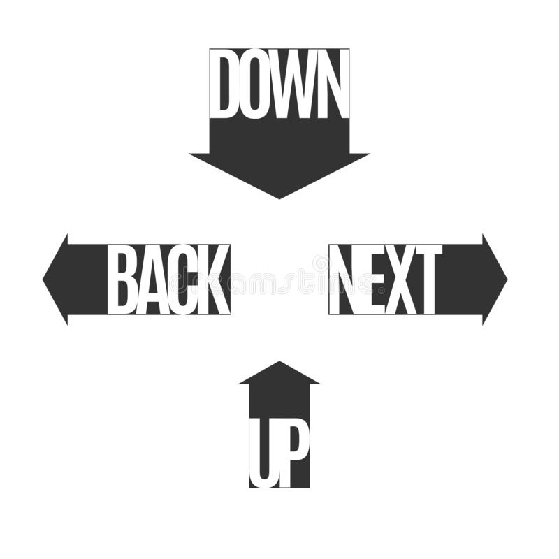 Arrows with text up down next back Set Sign symbol icon in the form of a directional arrow For printing on packaging box web site. Arrows with text up down next stock illustration