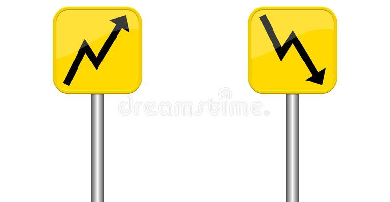 Arrows up and down on yelow signs stock illustration