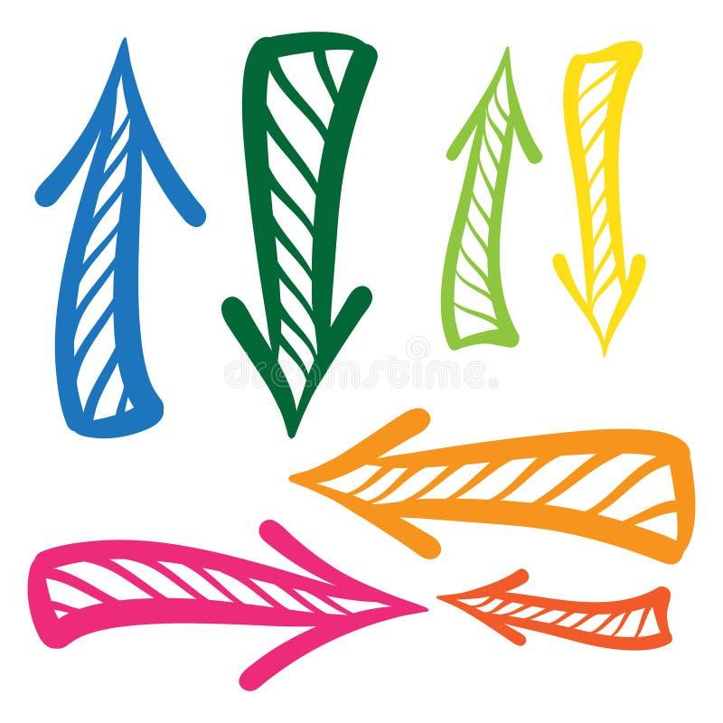 Arrows vector hand drawn set icons illustration royalty free illustration