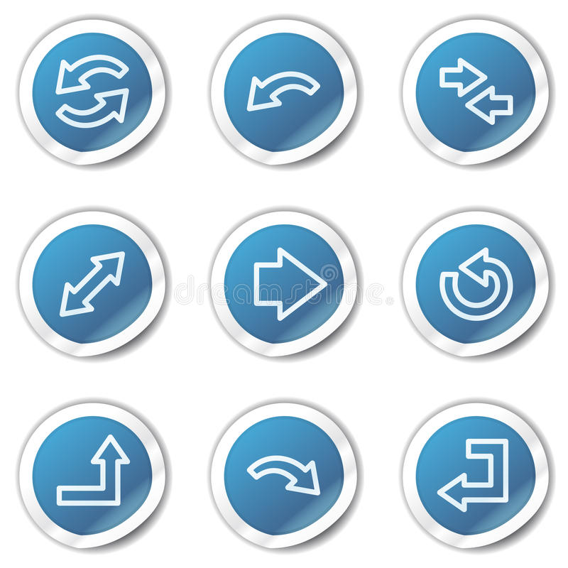 Download Arrows Web Icons Set 1, Blue Sticker Series Stock Vector - Image: 13008789
