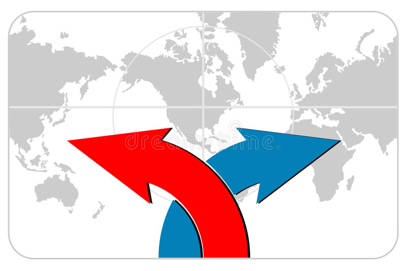 Arrows with world map vector illustration