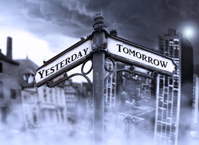 Arrows in Yesterday and Tomorrow. Arrows indicates Yersterday and Tomorrow with two different dramatic view: old and new city wrapped in fog in the background royalty free stock photo