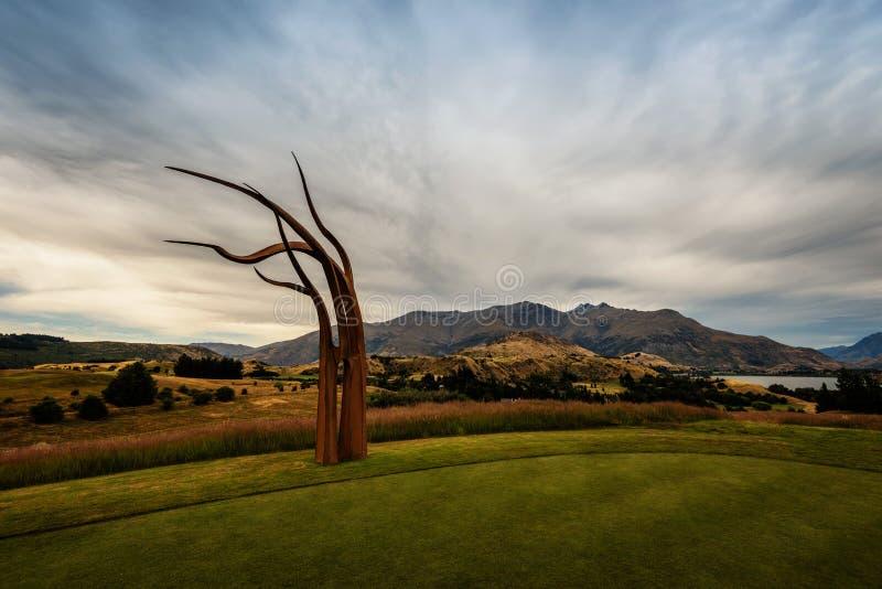 Arrowtown golfbana Art New Zealand royaltyfria foton