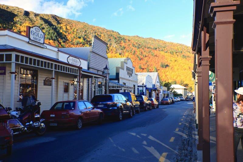 Arrowtown in Zuideneiland Nieuw Zeeland stock foto's
