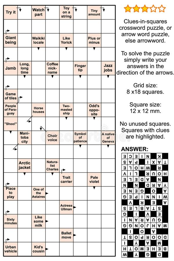 Download Arrowword Clues In Squares Scanword Crossword Puzzle Stock Vector