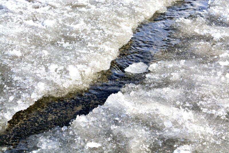 Arroyo de la primavera textura del agua del derretimiento en los arroyos de la primavera en un día soleado fotografía de archivo