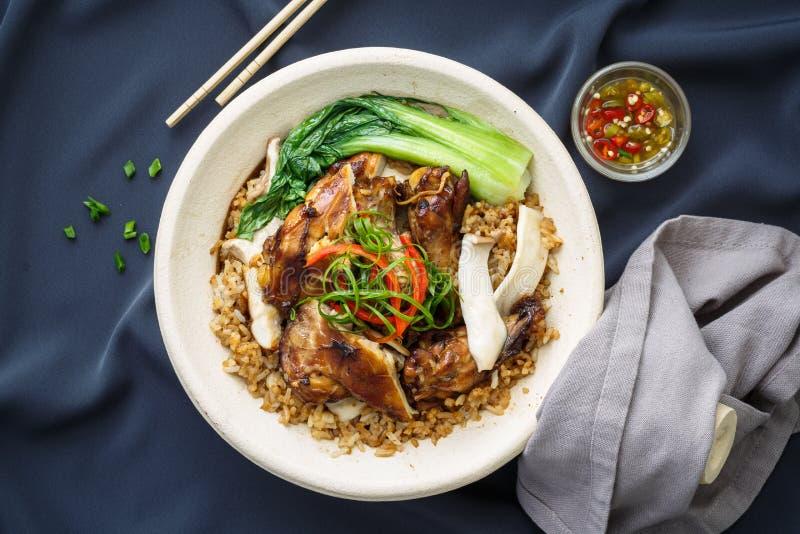 Arroz Claypot, comida china del pollo imagen de archivo libre de regalías