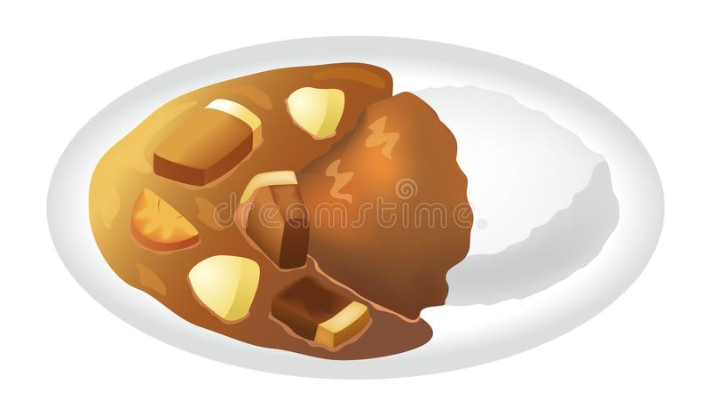 Arroz com caril da carne de porco ilustração stock