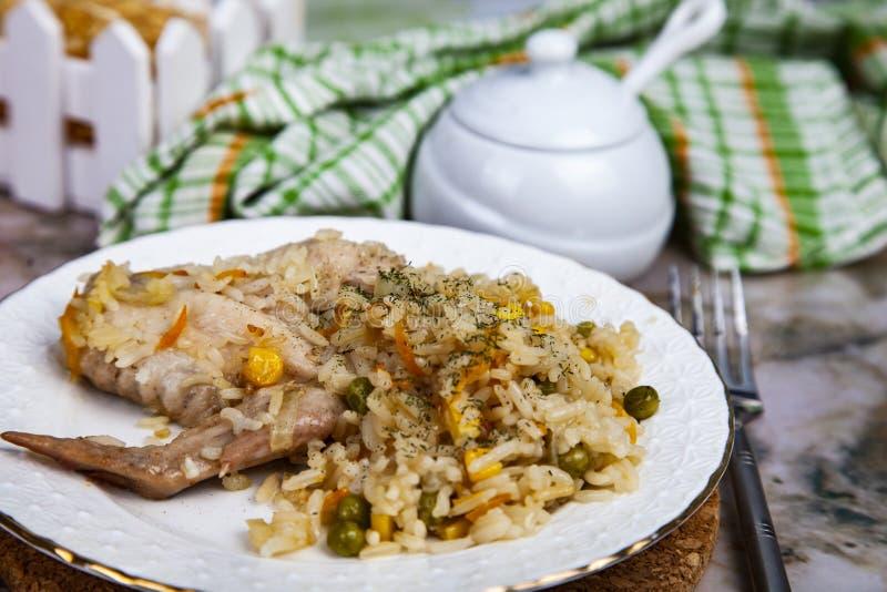 Arroz com galinha e vegetais imagens de stock